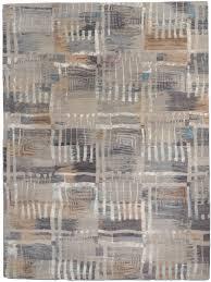 Modern Silk Rugs Ultimate Modern Verve Gray Silver Ivory Wool Silk Rug