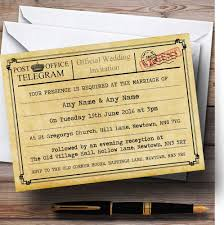 telegram wedding invitation vintage telegram typewritten personalised wedding invitations