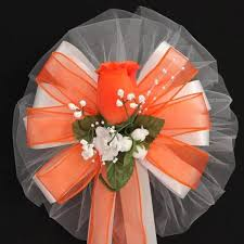 Wedding Pew Bows Classic Orange Rosebud Wire Edge Wedding Pew Bows Church Aisle