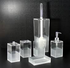 Glass Bathroom Accessories Sets Square Sanded 6pcs Bathroom Accessories Set Toilet Brush Lotion
