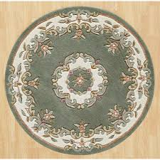 Green Round Rug by Traditional Circle Rug Handtufted Rug Therugshopuk
