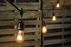 Commercial Outdoor String Lights Commercial Edison Drop String Lights 48 Foot Black Wire Clear