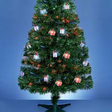 1 8m green fibre optic christmas tree with parcel decorations