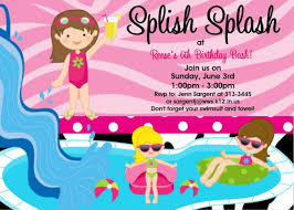 colors simple 13th birthday pool party invitation with