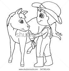 coloring book child feeding horses vector stock vector 347361404