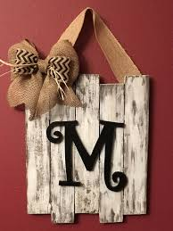 monogrammed door decor wedding gift distressed rustic decor