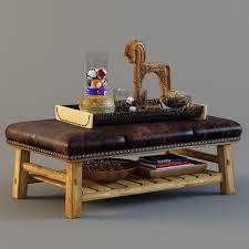 coffee table table ottoman 3d model pottery barn coffee coffee
