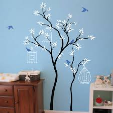 thin trees with birdcages wall sticker by wall art thin trees with birdcages wall sticker