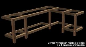 Free Wood Workbench Designs by Garage Shop Corner L Shape Workbench Design Woodworking Talk