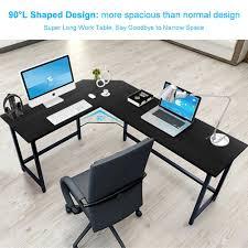 average desk size tribesigns modern l shaped corner computer desk teak walmart com