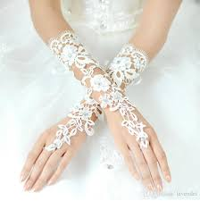 lace accessories fashion 2017 lace bridal gloves white fingerless