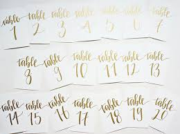 wedding table number fonts gold calligraphy wedding table numbers handwriting in calligraphy