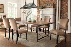 beautiful trestle table sets with brick wall and chandelier also