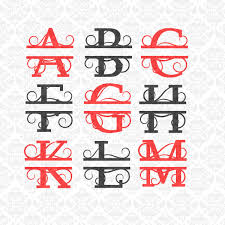 last name monogram split monogram swirly letters fancy last name alphabet svg ai eps