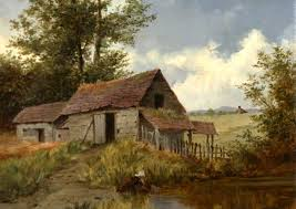 a rustic barn with a drawing water art uk