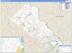 map of bucks county pa towns bucks county pa zip code wall map basic style by marketmaps
