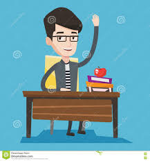 Picture Of Student Sitting At Desk by Student Raising Hand In Class For An Answer Stock Vector Image