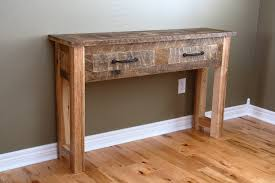 narrow rustic distressed wood console table made from reclaimed
