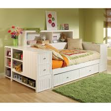 white wooden daybed with double drawers on the bottom combined