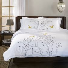 com superior 100 cotton percale embroidered 3 piece duvet cover set king california king gold swallow home kitchen