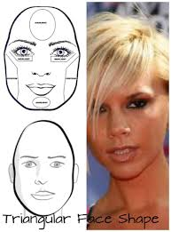 for triangular face shapes the forehead and cheekbones are narrow