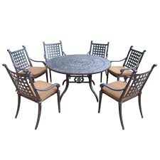 Oakland Living Belmont  In Piece Round Patio Dining Set With - 7 piece outdoor dining set with round table