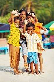 goa india january 14 unidentified indian children celebrating