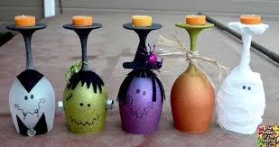 halloween candels halloween wine glasses candle holders