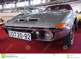 opel silver silver sports car opel gt editorial stock image image of