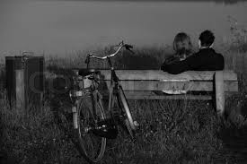 Bench Photography Loving Couple Boy And With The Bike Sitting On The Bench In