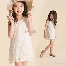 2017 girls pearl collar lace dresses fashion princess dress beige