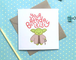 yoda birthday card etsy