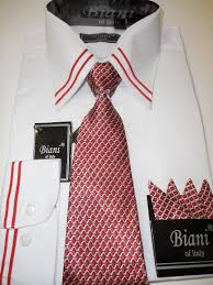 mens cool red white trimmed dress shirt w folded handkerchief