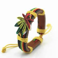 leather leaf bracelet images 2018 bob marley bracelets reggae rasta stripe leather wristband jpg