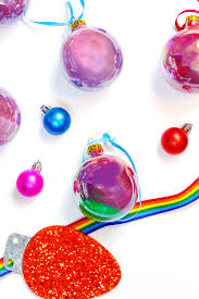 diy iridescent rainbow marble ornaments brite and bubbly