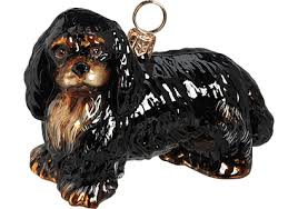 cavalier king charles spaniel black glass ornament