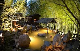 japanese style outdoor lighting for unique small pools on sloped