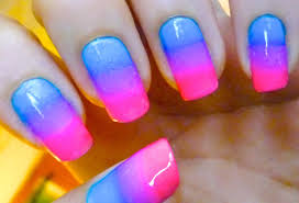 ombre gradient nail art design pink and blue youtube