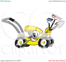 Gardening Clip Art Clipart Picture Of A Yellow Lawn Mower Mascot Cartoon Character