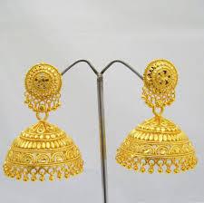 jhumki style earrings in gold wedding ideas traditional womending gold tone jhumka earrings