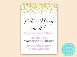 what do you put on a bridal shower registry put a ring on it pink and gold bridal shower magical printable