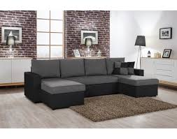 canapé d angle noir et gris orlando u canapé d angle convertible panoramique noir et gris