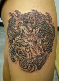 ying yang koi fish lotus tattooimages biz