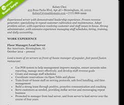 food service resume template free resume templates