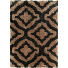 Modern Shag Area Rugs Well Woven Feather Trellis Black 5 Ft 3 In X 7 Ft 3 In