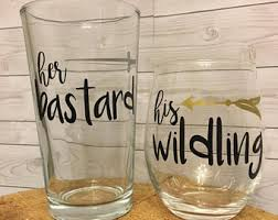 his and hers glassware his wildling etsy