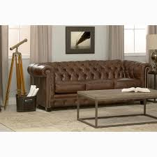 Chesterfield Leather Sofa Bed Hancock Tufted Brown Leather Chesterfield Sofa Free Shipping