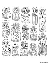 cute russian dolls coloring pages printable