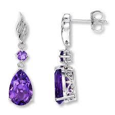 amethyst earrings amethyst earrings with diamond accents sterling silver