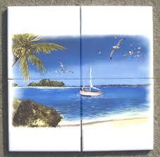 Ceramic Tile Mural Backsplash by Beach Ceramic Kitchen Back Splash Tile Mural